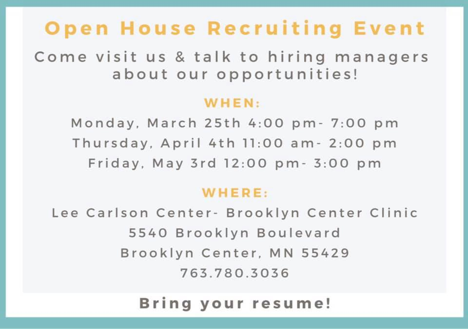 Therapist Recruitment Event Friday May 3rd