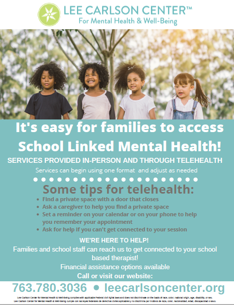 At Lee Carlson Center it's easy to access School-Linked Mental Health