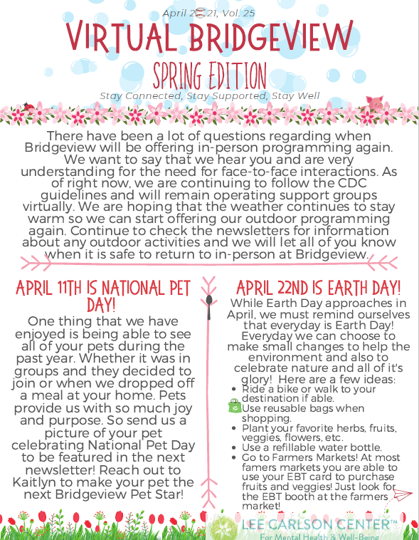What's up at Bridgeview this Spring?
